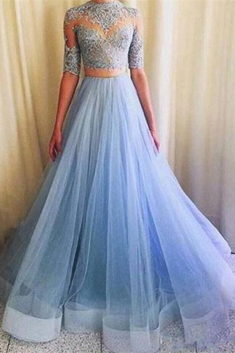 S150 Elegant Two-Piece Mermaid Half Sleeves Blue Long Prom Dress with Lace,Light Blue Prom Dress, 2 Pieces Prom Dress