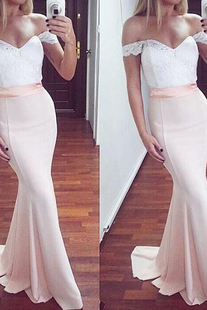 S252 Pink Off Shoulder Long Prom Dresses,Simple Elegant Mermaid Prom Dress,Prom Gowns,Evening Dresses,Prom Dress,Evening Dress