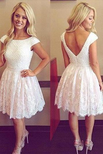 S253 Pretty Beading Lace Short Handmade Cute Homecoming Dresses,Formal Cocktail Dresses,Short Prom Dress,Homecoming Dress