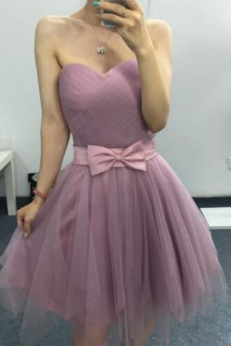 S256 Pretty Short Sweetheart Homecoming Dresses,Simple Handmade Graduation Dresses With Bow Belt,Ball Gown Homecoming Dress,Cocktail Dress