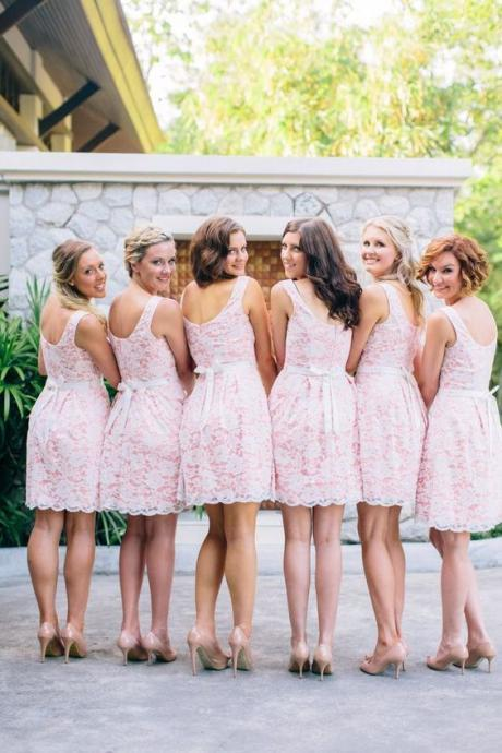 S258 Pretty White Lace And Ping Skirt Short Bridesmaid Dresses With Bow Belt,Homecoming Dress,Bridesmaid Dress