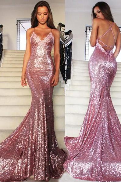 S266 Rose Pink Mermaid Sequins Party Dresses Spaghetti Strap Long Evening Gowns,Prom Dress,Evening Dress,Bridesmaid Dress