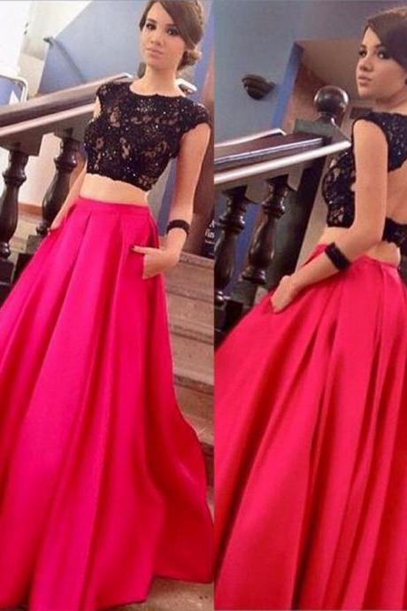 S269 Black Lace Top Prom Gowns, 2 Pieces Fuchsia Long Evening Gowns, Satin Prom Gowns,Prom Dress,Evening Dress,Bridesmaid Dress