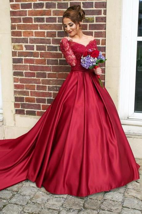 S270 Luxurious Off Shoulder Long Sleeves Ball Gown Red Prom Dress,Ball Gown Wedding Dress,Long Sleeve Dress,Burgundy Dress