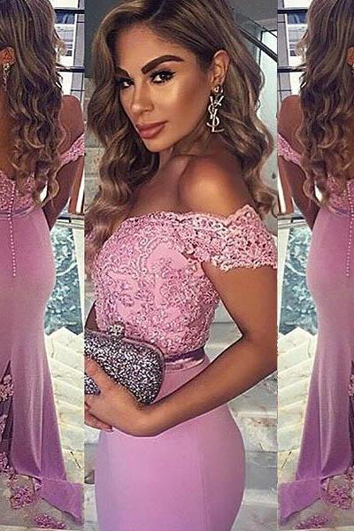 S272 Mermaid Off the Shoulder Pink Satin Sweep Train Prom Dress with Lace,Mermaid Prom Dress,Bridesmaid Dress