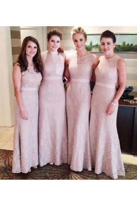 S273 Elegant Mermaid Round Neck Lace Long Bridesmaid Dress,Bridesmaid Dress,Prom Dress,Evening Dress