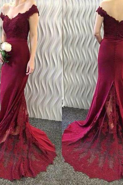 S275 Mermaid Off-the-Shoulder Burgundy Evening Dresses Lace Appliques Long Prom Dresses,Mermaid Prom Dress,Evening Dress,Bridesmaid Dress
