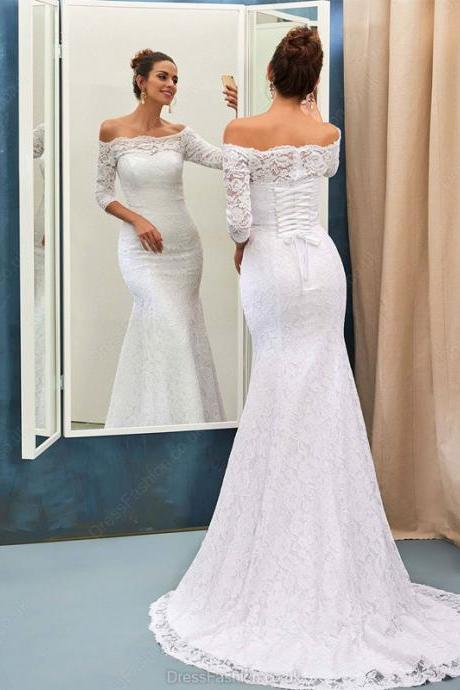S276 Mermaid Off-the-shoulder Lace Sweep Train 3 4 Sleeve Top Wedding Dresses,Long Sleeve Dress,Wedding Dress,Mermaid Wedding Dress