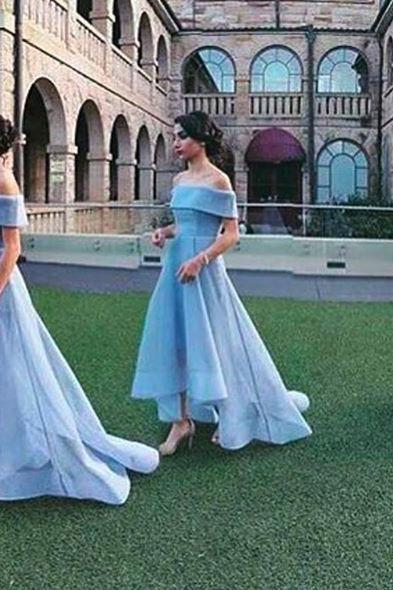 S501 Baby Blue Ball Gown Bridesmaid Dresses 2018 Straplss Sleeveless Bridesmaid Gowns,Off the Shoulder Prom Dress,Evening Dress