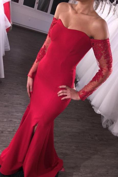 S520 Charming Red Prom Dress, Cheap Price Red Mermaid Bridesmaid Dresses,Long Sleeve Dress,One Boat Neck prom Dress,Evening Dress