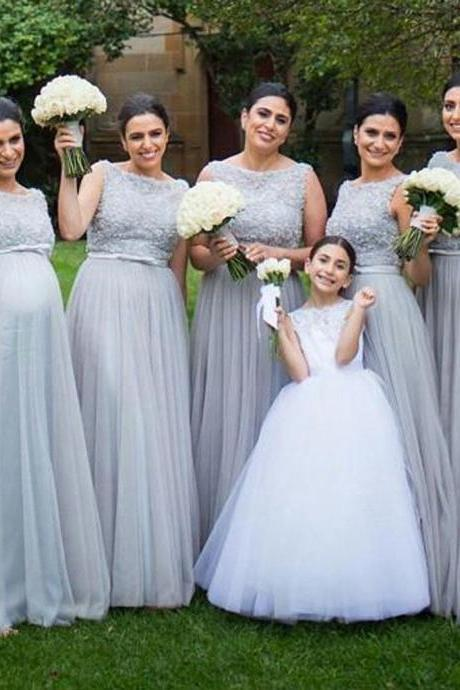 S523 Cheap bridesmaid dresses 2017,Silver Tulle Elegant Long Cheap Wedding Party Bridesmaid Dresses for Pregnant Girl,Bridesmaid Dress,Evening Dress