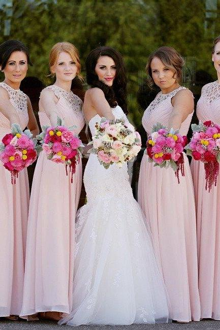 S524 Cheap bridesmaid dresses,Special A-line Pink Long Chiffon Bridesmaid Dress,Bridesmaid Dress,Prom Dress,Evening Dress