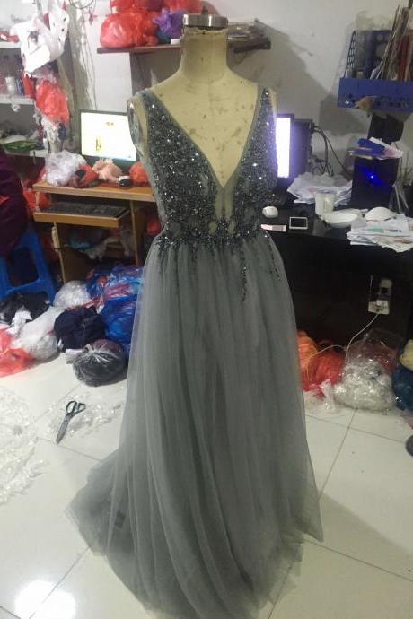 A12 Handmade Beaded Long Grey Tulle Evening Gowns,Charming V Neck Long Prom Dress,Real Photo Dress