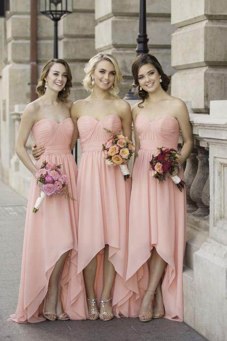 Custom Made Pink Ruched Sweetheart Neckline Chiffon A-Line Bridesmaid Dress, Prom Dress