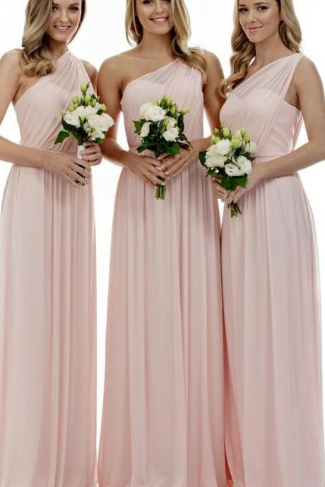 Custom Made Pink One Shoulder Neckline Chiffon Bridesmaid Dress