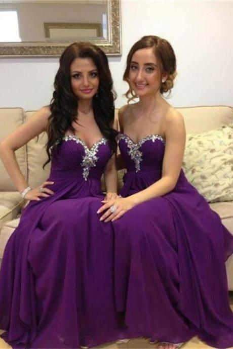 D93 Charming Prom Dress,Chiffon Bridesmaid Dress,Sweetheart Bridesmaid Dress,Beading Evening Dress