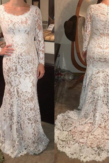 D137 Charming Prom Dress,Lace Prom Dress,O-Neck Prom Dress,Mermaid Prom Dress,Long-Sleeves Evening Dress