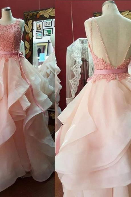 D156 Charming Prom Dress,O-Neck Prom Dress,Backless Prom Dress,Tulle Prom Dress,Appliques Evening Dress