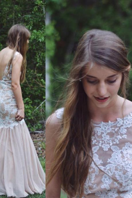 D209 Charming Prom Dress,Tulle Prom Dress,Appliques Prom Dress,Mermaid Prom Dress,Backless Evening Dress