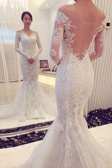 D283 Charming Off The Shoulder Long Sleeves Lace Mermaid Wedding Dress,Long Sleeve Dress,Wedding Dress