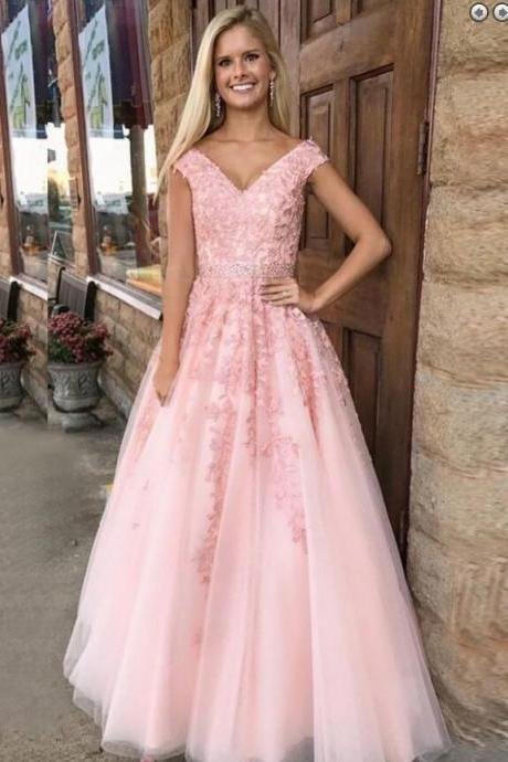 E451 Charming Tulle Appliques Prom Dress, Elegant Pink Tulle Formal Prom Dresses, Long Evening Gown,Cap Sleeves V Neck A Line Long Tulle Lace Pink Prom Dress